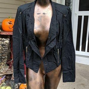 Whbm linen jacket Moto light weight 6 black crop